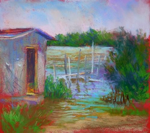 """Rising Tide & Shed""  pastel by Carol"