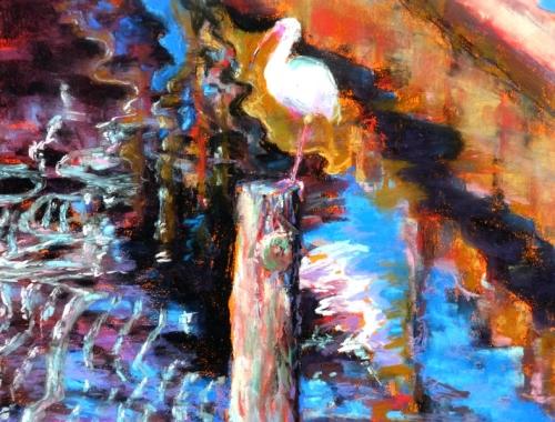 """Reflective Ibis"" pastel by Julie"